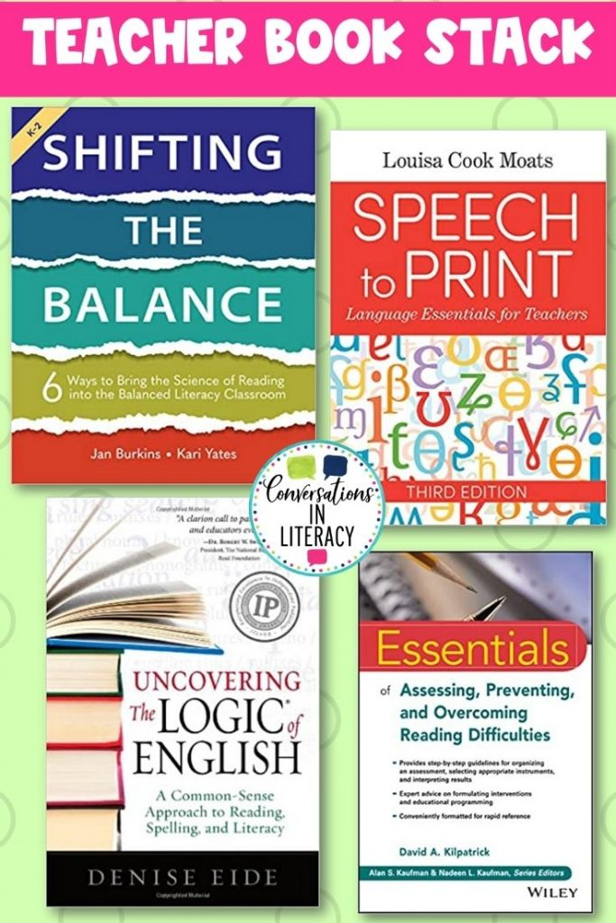 4 science of reading books on light green back ground by Conversations in Literacy