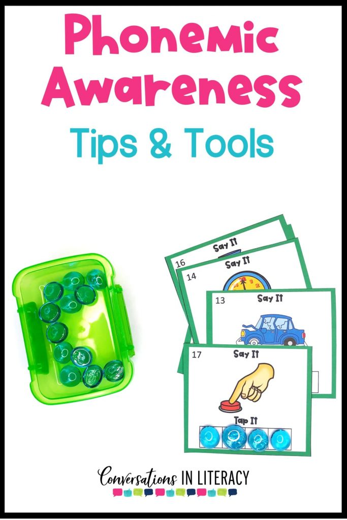 green box with glass rocks and phonemic awareness cards by Conversations in Literacy