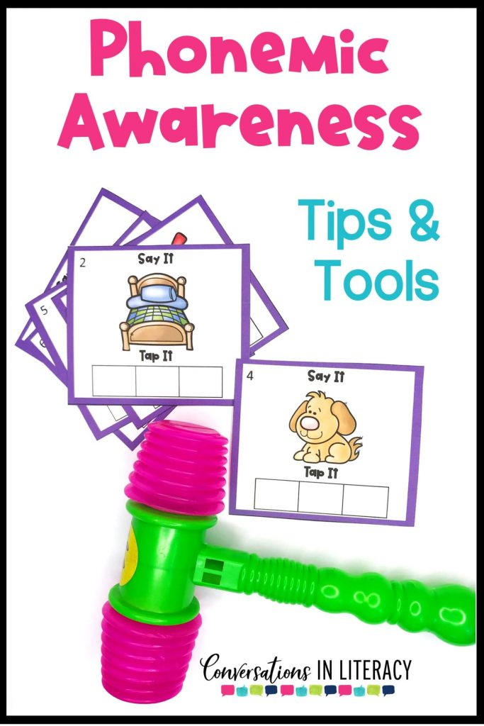 pink and green toy hammer with phonemic awareness picture cards by Conversations in Literacy