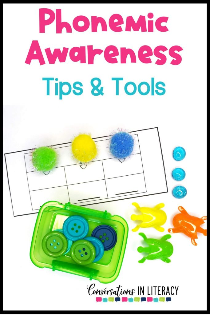 greens and blues- pom poms, buttons, and frogs for phonemic awareness activities by Conversations in Literacy