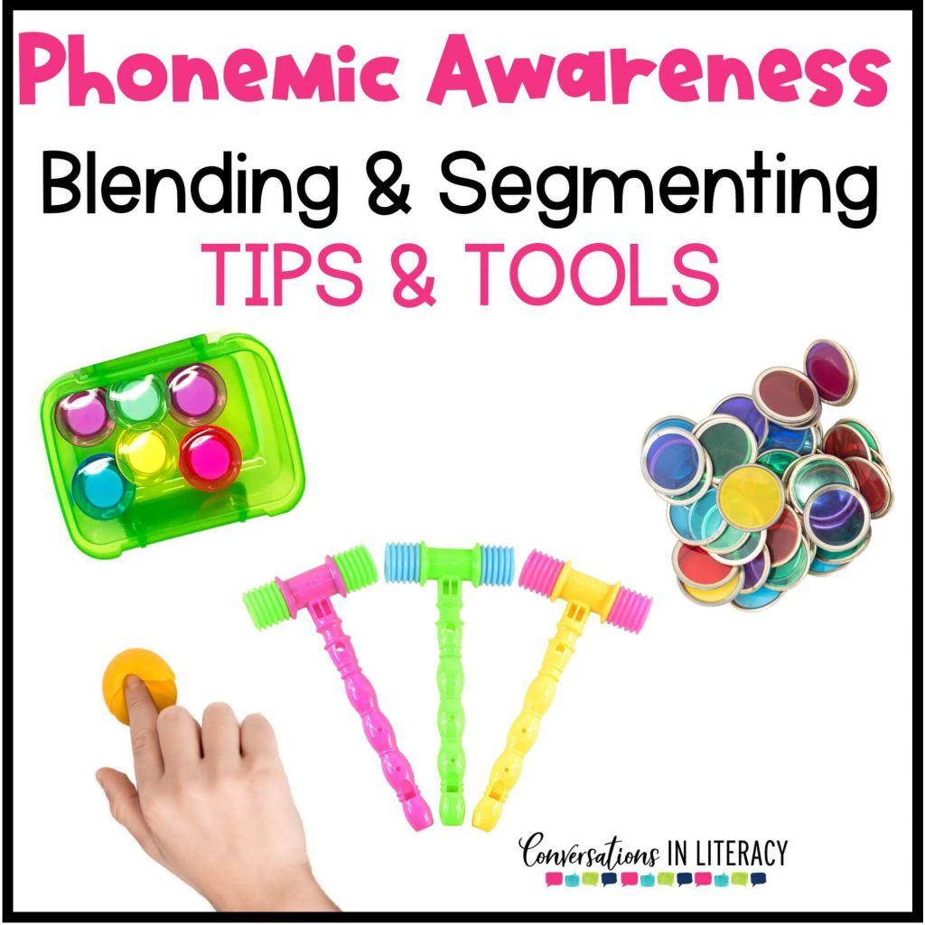Bingo chips, a finger smashing play doh and a green box with colored magnets for phonemic awareness activities by Conversations in Literacy
