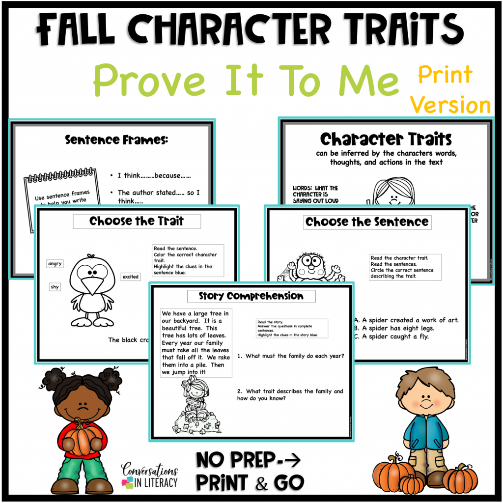 Character trait activities by Conversations in Literacy