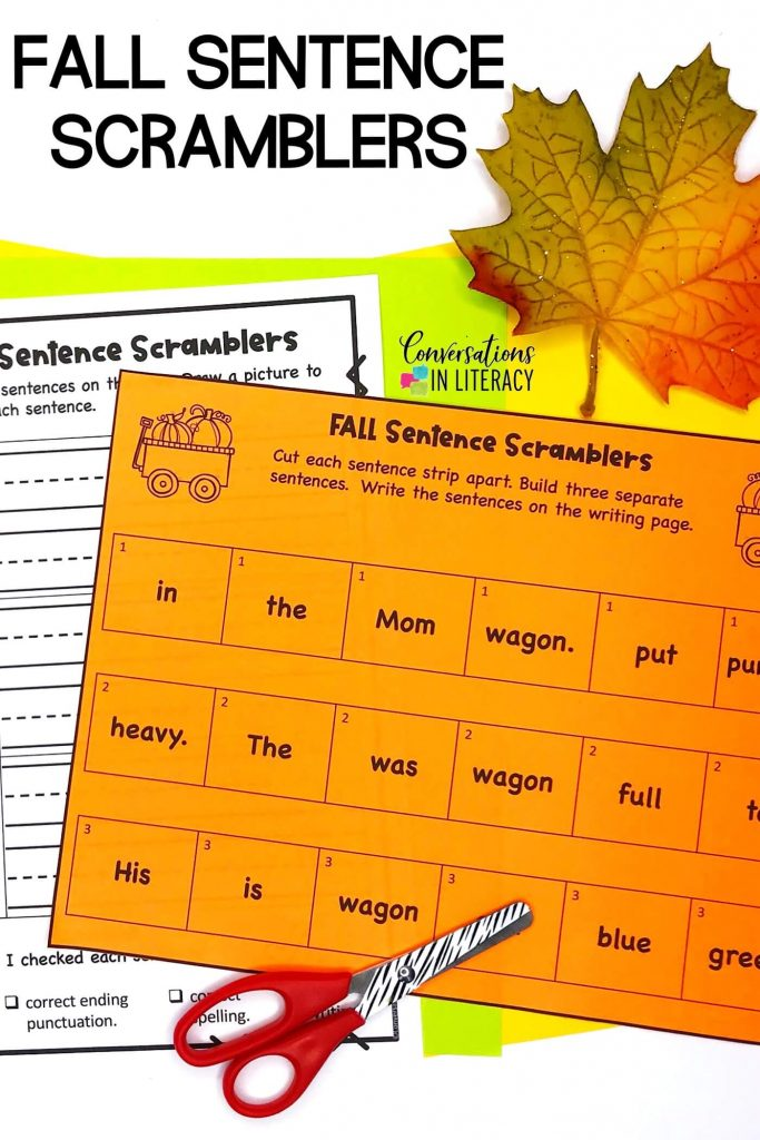 kids scissors, fall leaf with writing activity by Conversations in Literacy